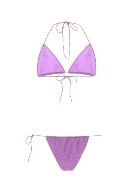 Purple polyester Lumière Microkini bikini