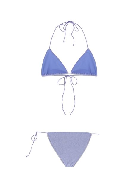 Lilac stretch nylon Shine Microkini bikini