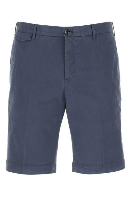 Navy blue stretch cotton bermuda shorts