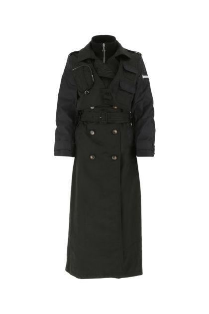 Black nylon trench coat