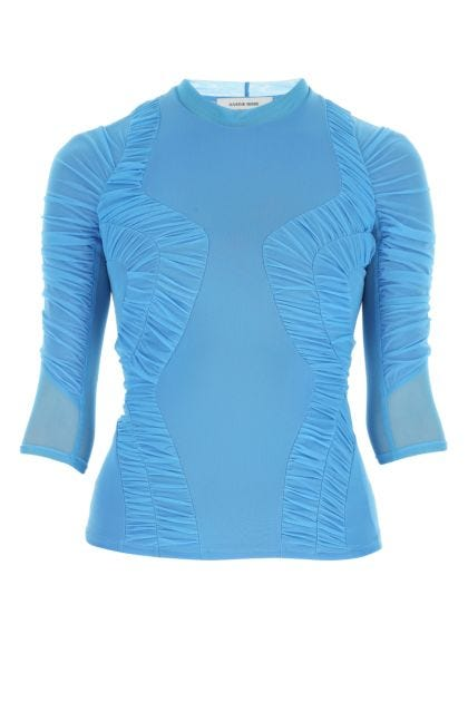 Turquoise nylon blend top