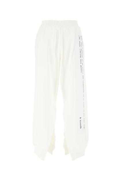 White cotton joggers