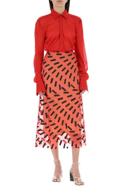 Red stretch silk shirt