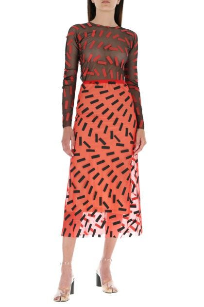 Printed stretch mesh skirt