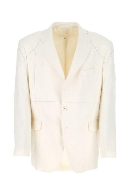 Ivory linen oversize blazer