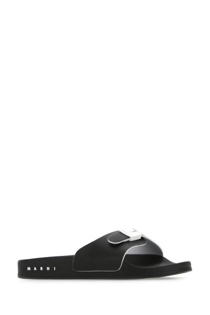 Black eco nappa leather slippers