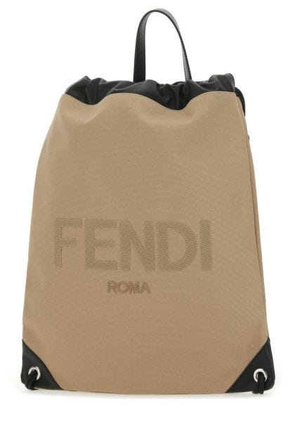 Two-tone canvas and leather backpack