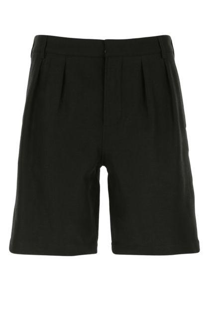 Black linen blend bermuda shorts