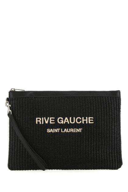 Black raffia clutch