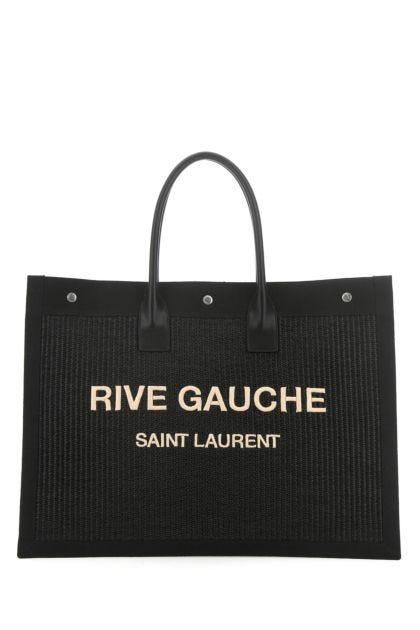 Black rafia and canvas Noe shopping bag