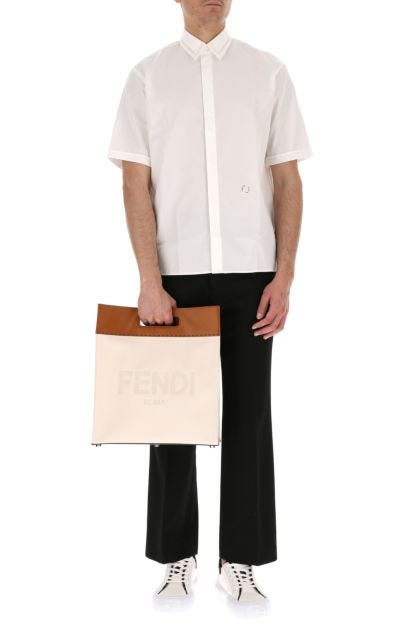 Two-tone canvas and leather shopping bag