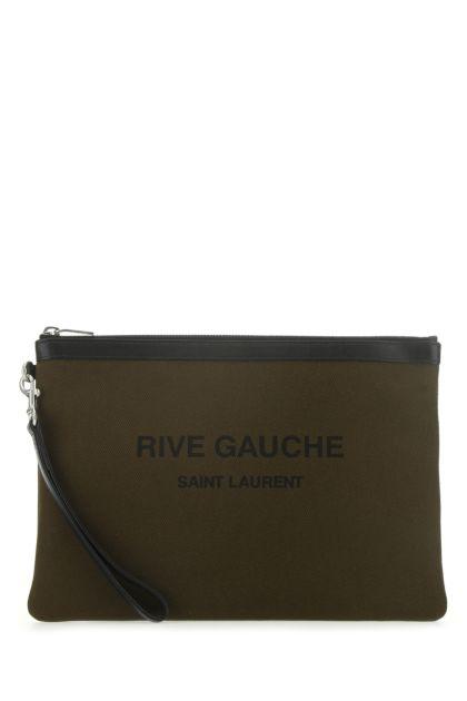 Khaki canvas Rive Gauche clutch