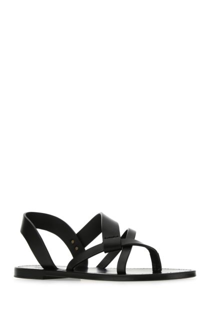 Black leather Matt 05 thong sandals