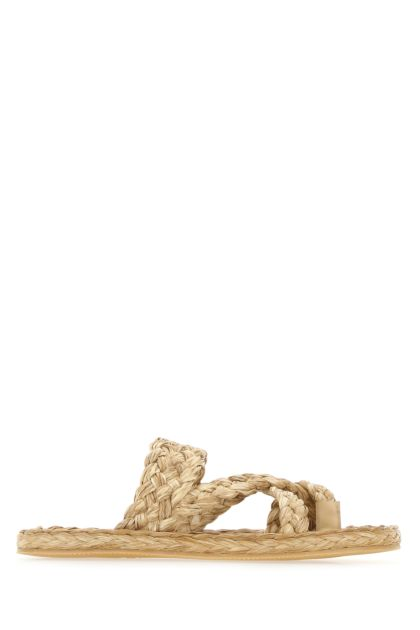 Straw thong slippers