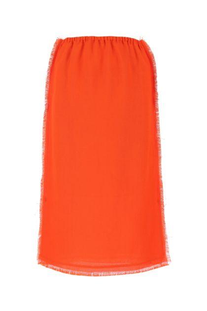Dark orange viscose blend skirt