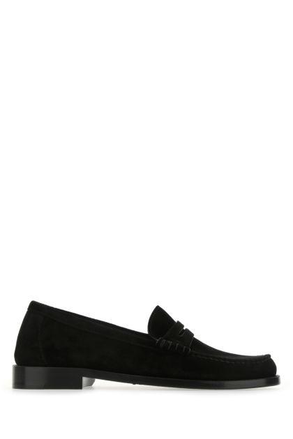 Black suede Monogram loafers