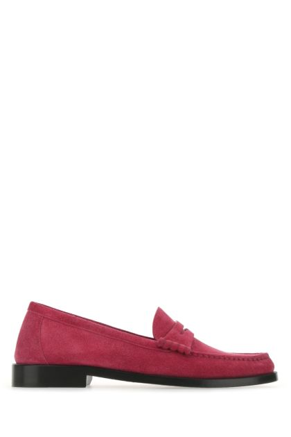 Fuchsia suede loafers