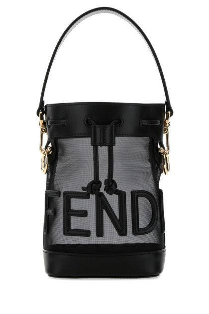 Black leather and mesh mini Mon Tresor bucket bag