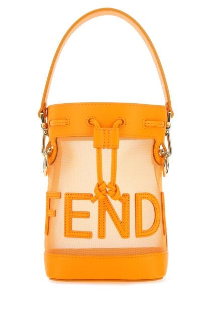 Orange leather and mesh minion Tresor bucket bag