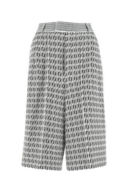 Embroidered viscose blend bermuda shorts