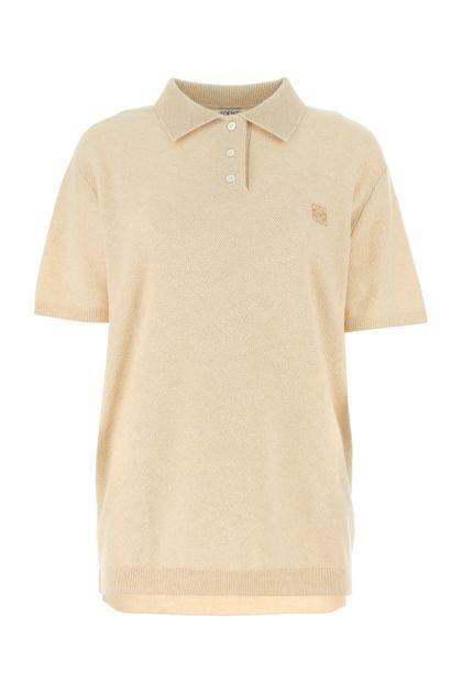 Sand cashmere polo shirt
