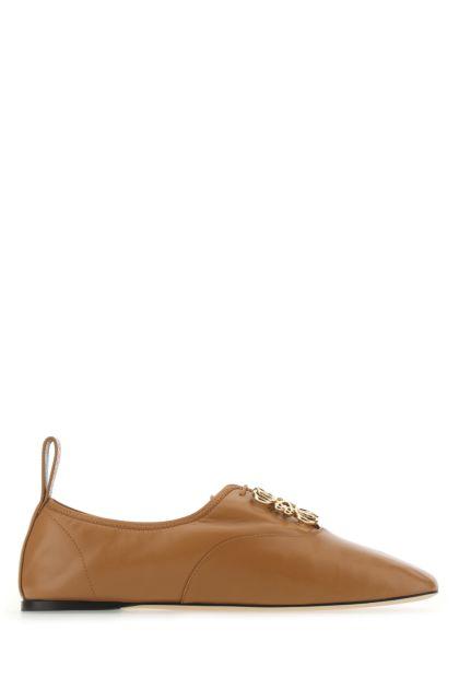 Camel nappa leather Anagram ballerinas