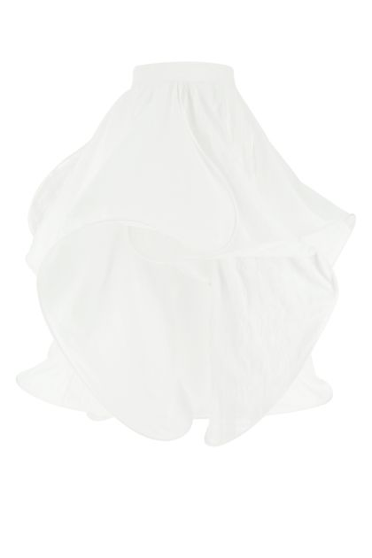 White cotton blend Spiral skirt