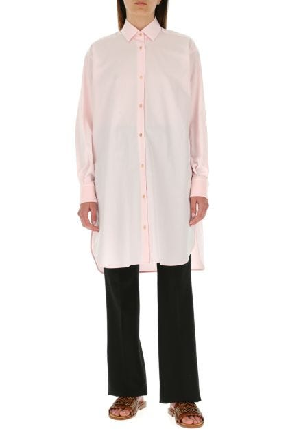 Pastel pink poplin oversize shirt