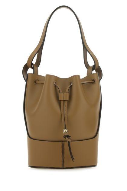 Khaki nappa leather small Balloon bucket bag
