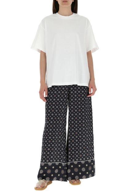 Printed polyester wide-leg pant