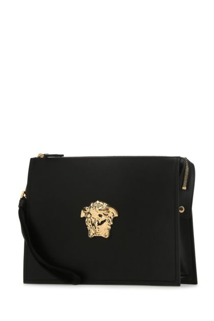 Black leather La Medusa clutch