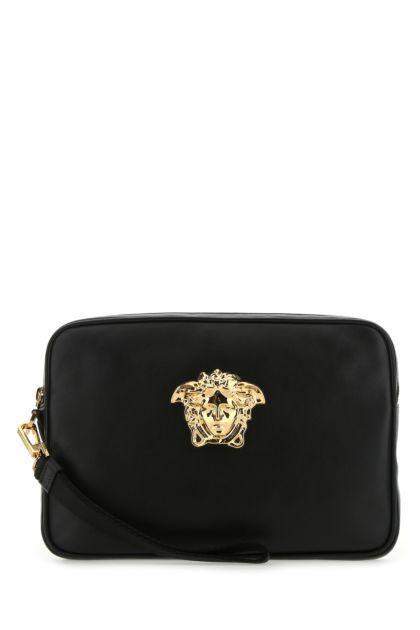 Black leather small La Medusa clutch
