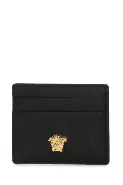 Black leather La Medusa card holder