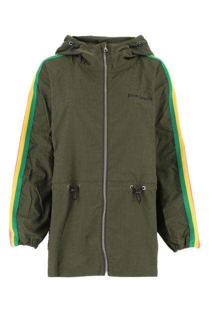 Army green nylon windbreaker