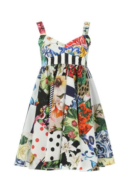 Printed stretch cotton blend dress