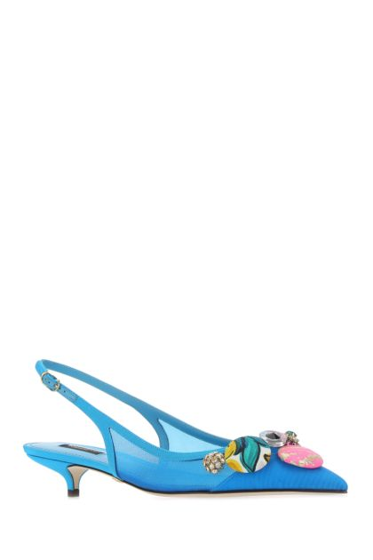 Turquoise fabric Cardinale pumps