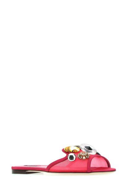 Fuchsia fabric slippers