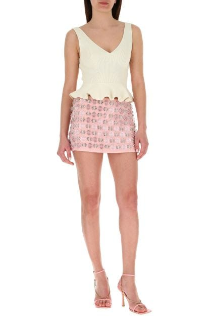 Embellished viscose mini skirt