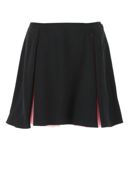 Black acetate blend mini skirt