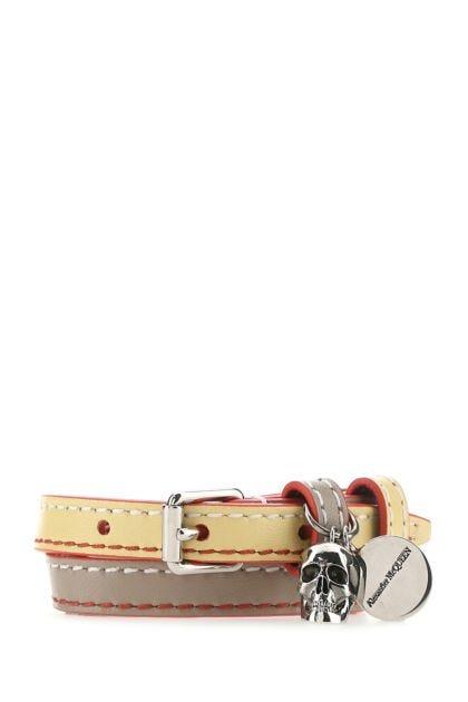 Two-tone leather Skull bracelet