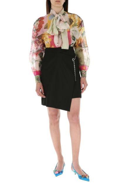 Printed organza blouse