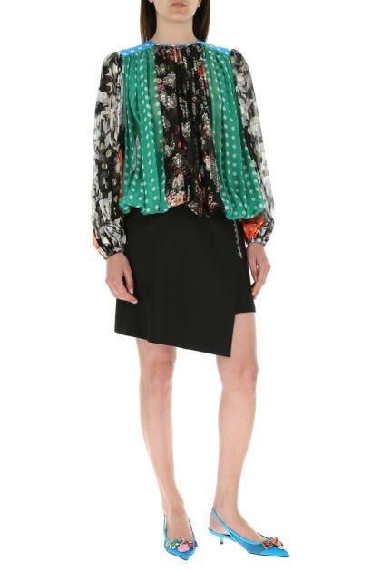 Multicolor silk blend blouse