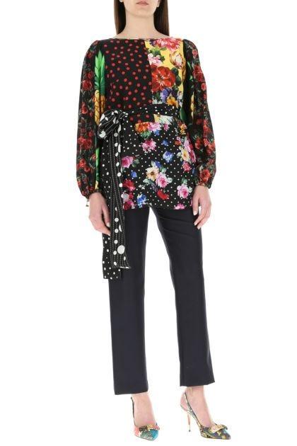 Printed stretch silk blouse
