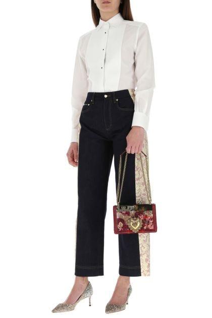 Multicolor fabric and snakeskin Devotion shoulder bag