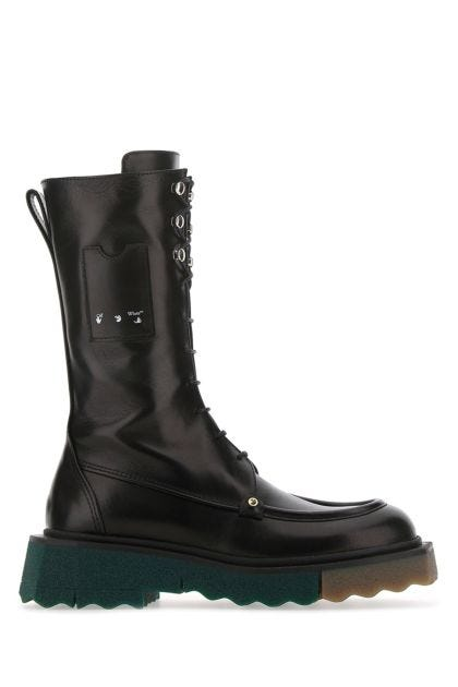 Black leather Sponge boots