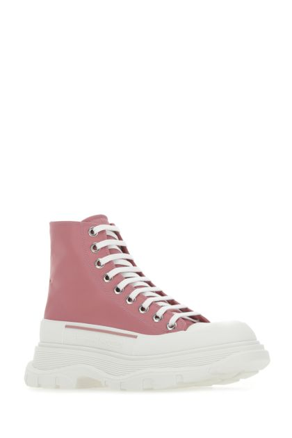 Antiqued pink fabric Tread Slick ankle boots