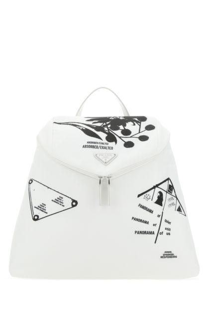 White nylon Signaux backpack