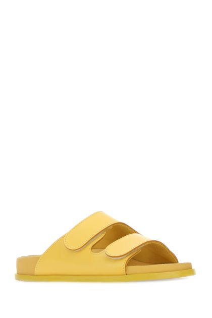 Yellow leather The Forager slippers