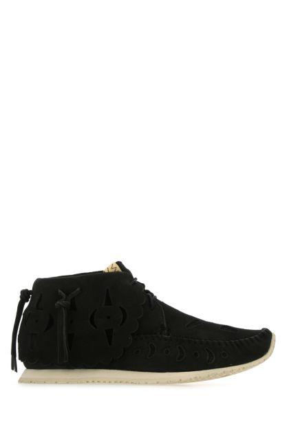 Black suede lace-up shoes