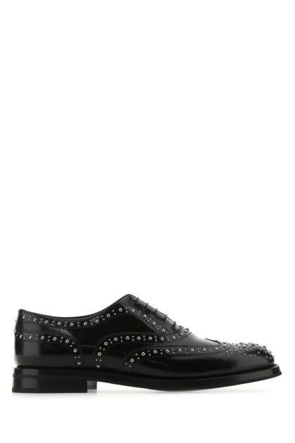 Black leather Burwood lace-up shoes